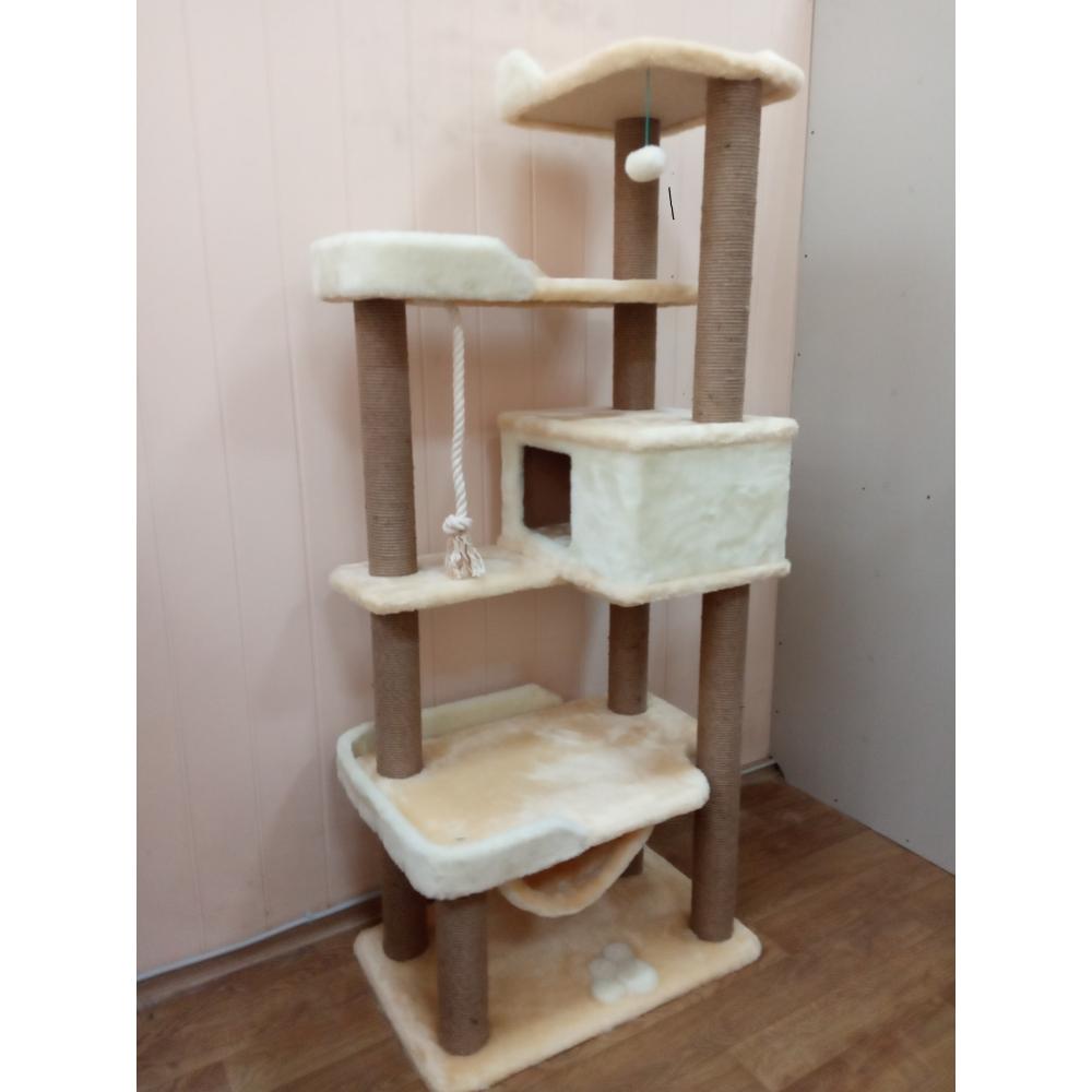 Высокий компактный игровой комплекс с гамаком для кошек  лежанками и просторным домиком