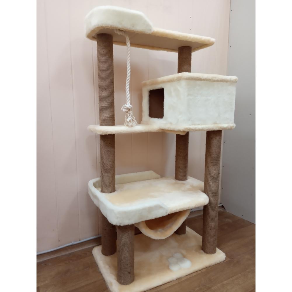 ЗООПОЛЮС-257 Комплекс многоуровневый домик когтеточка для кошки с лежанками и гамаком