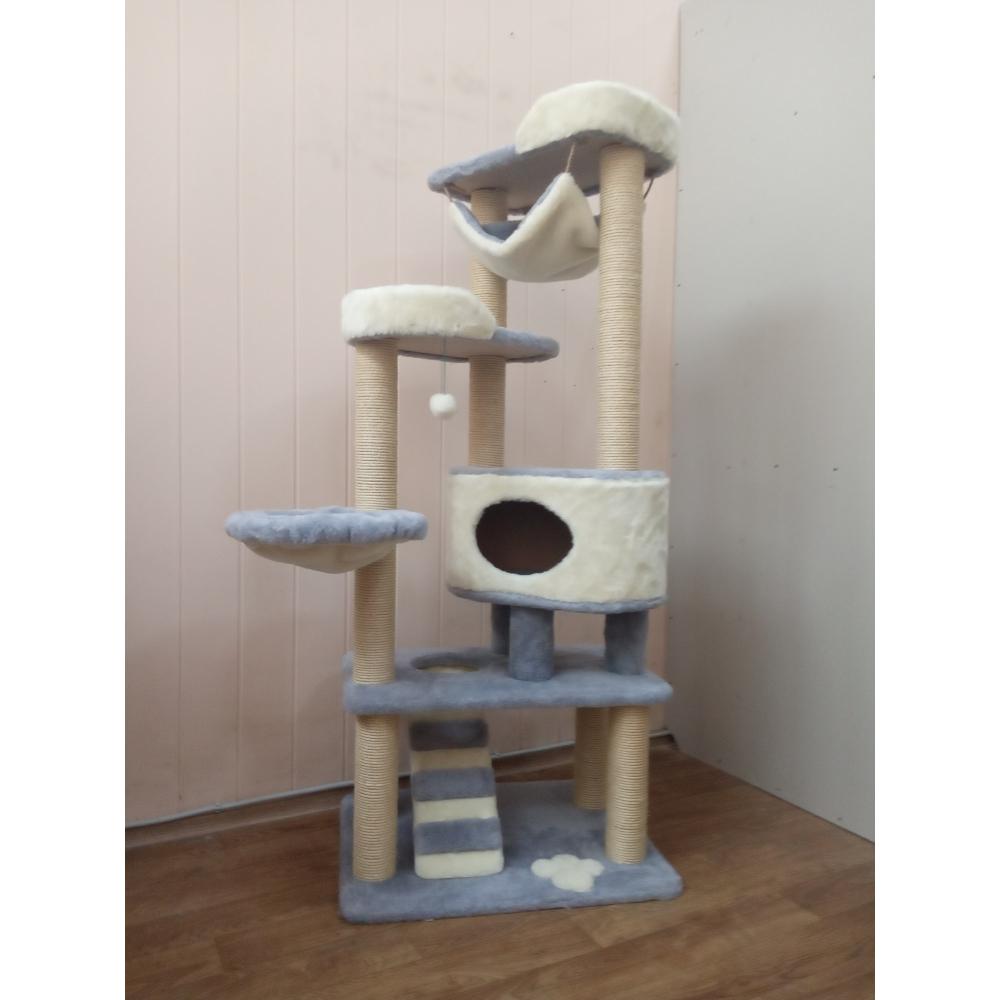 ЗООПОЛЮС-293 Когтеточка игровой комплекс для кошки высота 175 см большой домик и лежанки  сизалевые когтеточки